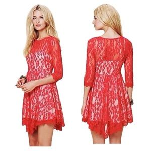 Free People Floral Mesh Lace Dress in Hot Red Sz 0